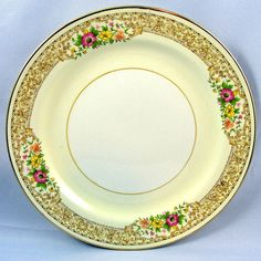 "Homer Laughlin Nautilus CORONET aka GOLD DAWN Salad Plate 7 1/8""  USA (Set of 2) #HomeLaughlin"