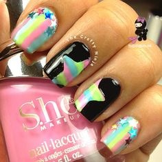 19 Best Easter Nail Art Designs For Your Inspiration Great Nails, Perfect Nails, Love Nails, Funky Nails, Easter Nail Art, Rainbow Nails, Rainbow Star, Rainbow Brite, Striped Nails