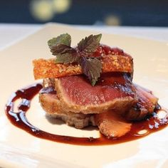 Seared yellow fun tuna, pink ruby grapefruit and sweet pork crackling at Flying Fish restaurant in Sydney, Australia.