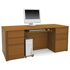 """Bestar 99850-1476 Prestige Plus executive desk kit in Cognac Cherry finish by Bestar. $950.00. Includes executive desk two pedestals one keyboard shelf and a CPU platform.Two utility drawers and one file drawer with letter/legal filing system on each pedestal.Drawers on ball-bearing slides.Grommets for wire management.Durable 1"""" commercial grade surface with melamine finish that resists scratches stains and wears.Finish: Warm Cognac Cherry.Dimensions: 71.1"""" L x 29.8"""" D x..."""
