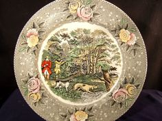 """Currier and Ives plate 10 5"""" WOODCOCK SHOOTING w dogs, game bird hp 1950s Adams  #Adams"""
