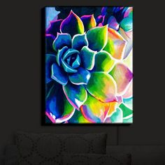 Buy Canvas Wall Art by DiaNoche Designs Supp Succulent - Rachel Brown by DiaNoche Designs on Dot & Bo Neon Painting, Acrylic Painting Canvas, Painting Prints, Spiritual Paintings, Illumination Art, Motif Floral, Canvas Wall Art, Canvas Tent, Buy Canvas