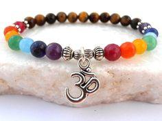 Chakra Om bracelet 7 Chakra bracelet Tiger's por GreenJadeGoddess