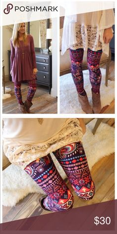 PLUS Size Paisley Feather Leggings So Soft. Features a soft brushed knit with gorgeous colors!! 90% Polyester and 10% Spandex.                                                               ✨Top Rated Seller ✨  Fast Shipping Times  Quick Responses  ✅ Great Items ✅  Awesome Bundle Deals  Thanks For Visiting!  Pants Leggings