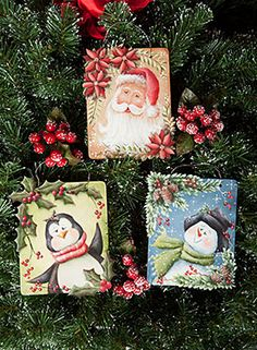 Trim a Trio Ornaments by Chris Haughey book and surface now available at… Whimsical Christmas, Christmas Ornaments To Make, Christmas Wrapping, All Things Christmas, Christmas Holidays, Christmas Decorations, Christmas Tree, Black Canvas Paintings, Mini Paintings