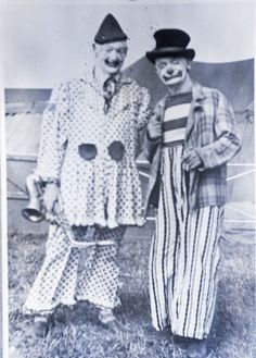 Terrell Jacobs Circus Clowns. These are two of the clowns Terrell Jacobs had on his circus in 1950 or as late as 1952. The names of these two performers are unknown to me.