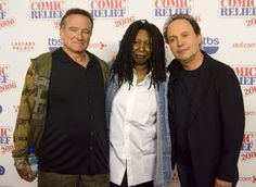 "FILE - This Nov. 18, 2006 file photo shows comedians Robin Williams, from left, Whoopi Goldberg and Billy Crystal posing after hoasting ""Comic Relief"" at Caesars Palace Hotel and Casino in Las Vegas, Nev. Williams, whose free-form comedy and adept impressions dazzled audiences for decades, has died in an apparent suicide. He was 63. The Marin County Sheriff's Office said Williams was pronounced dead at his home in California on Monday, Aug. 11, 2014. The sheriff's office said a ..."