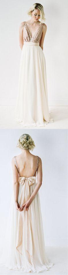 charming bridesmaid dress, open back bridesmaid dress, v neck bridesmaid dress, long white bridesmaid dress, sequined bridesmaid dress,elegant bridesmaid dress,bowknot bridesmaid dress