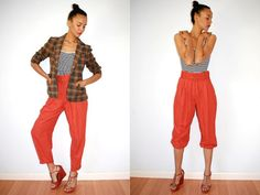 Vtg High Waist Belted Rusty Orange Trousers by LuluTresors on Etsy, $34.99