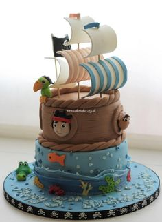 Jake and the Neverland Pirates cake - For all your Pirate cake decorating supplies, please visit http://www.craftcompany.co.uk/occasions/party-themes/pirate-party.html