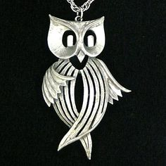 """Ilike this one, he looks like he's dancing!  Vintage Owl 1970""""s Pendant Necklace from carolbarrettjewelry on Ruby Lane"""