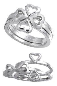 Shamrock Heart Stack Ring - Shamrock Rings: Irish Presents for St. Patrick's Day