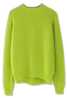 ++ neon green classic angora sweater