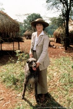 Meryl Streep on set of Out of Africa with Scottish Deerhound.