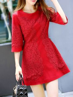 Red A-line 3/4 Sleeve Polyester Mini Dress
