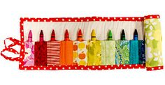 Crayon roll....can also be a knitting needle roll, crochet hook roll, picnic cutlery roll...