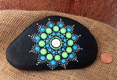 Mandala hand painted beach stone