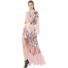 Roberto Cavalli Women Floral Print Sheer Silk Georgette Dress (€2.450) ❤ liked on Polyvore featuring dresses, multicolor, sheer dress, see through dress, short long dresses, long floral dresses and pink dress