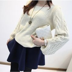 Plain Round Collar Pullover Kintted Sweater