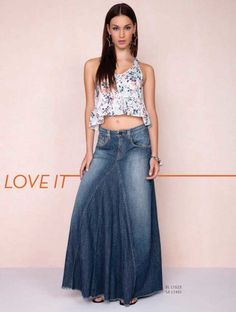 saias longas jeans                                                       …