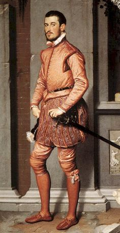 """Costuming Terms Doublet and Hose: Both common parts of 16th century male dress, they can be seen here in my favorite portrait of all time, Moroni's """"Gentleman in Pink."""" He's sporting some trunk hose, and a lovely doublet padded around the belly."""