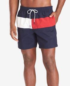 84af709724 Tommy Hilfiger Men's Tommy Flag Swim Trunks, Created for Macy's - Blue XXL