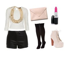 Black faux leather pants or shorts, white knit top, tall black boots or booties, bold gold accessories, and pink clutch.