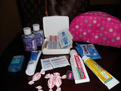 First Aid Kit -with 5 kids I am always prepared :sanitizer, band aids, alcohol wipes, cough drops, benadryl, anti-itch cream, neosporin, invisable band aid for feet,dramamine & cottonelle wipes I was a Girl Scout !!!