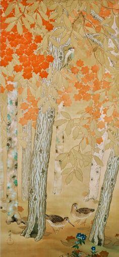 Birds and Flowers of Four Seasons. Autumn. Araki Jippo. 1917. Yamatane Museum of Art. Japanese