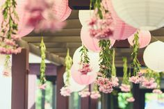 So beautiful yet easy! Hang lanterns and upside down flowers! The Secret Garden inspired birthday party via Kara's Party Ideas KarasPartyIdeas.com | The Place for ALL Things PARTY!