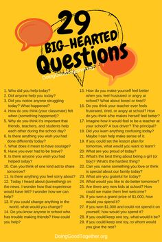 29 questions for big-hearted family dinner conversations, or any time. Speak deeply daily, and kids will grow big hearts!
