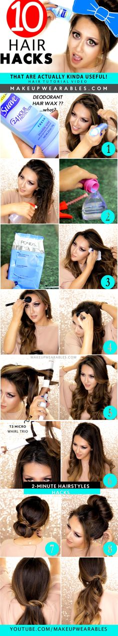 10 Hair Hacks & Hairstyles for Lazy Girls! #style #beauty #tips