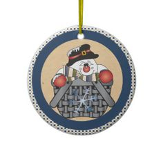 """SOLD""  Cute Snowman  in a Basket Blue Ornament.  Great gift for Christmas.  Look for more designs in my store.  Designs by DonnaSiggy.  www.zazzle.com/designsbydonnasiggy?rf=238713599140281212  #Christmas, #ornaments, #snowman, #snowmen, #zazzle, #pinoftheday"