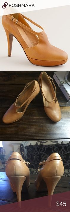"J Crew Greer Platform Heels in Brown Leather These are still in great condition but they have been worn and have a few scratches, but with this type of leather they still look great and will continue to do so for years!  Sz 8.5 4.5"" heel. J. Crew Shoes Platforms"