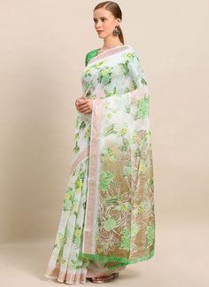Green Floral Print Linen Printed Saree Soft Silk Sarees, Cotton Saree, Party Sarees, Celebrity Gowns, Casual Saree, Latest Sarees, Embroidered Clothes, Printed Linen, Green Blouse