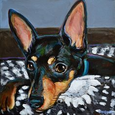 'Stan the Cozy Miniature Doberman Pinscher ' by RobertPhelpsArt Miniature Doberman Pinscher, Canvas Artwork, Canvas Prints, Pincher Dog, Chihuahua Love, Dog Art, Pet Portraits, Cute Art, Cute Dogs