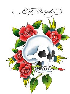 Drawing Ed Hardy Skulls And Roses