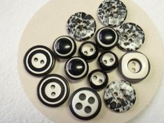 Black & White Buttons, Variety Mix, Vintage Plastic Buttons. $3.00, via Etsy.