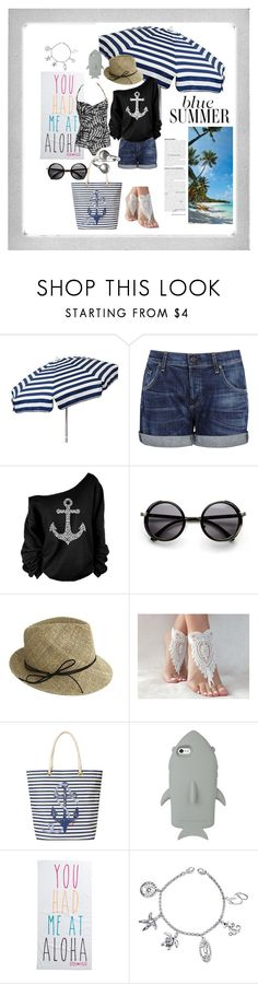"""""""Beach Day!!!"""" by abbyarctic ❤ liked on Polyvore featuring Polaroid, Parasol, Citizens of Humanity, Justine Hats, C. Wonder, STELLA McCARTNEY, Rip Curl and Belk Silverworks"""
