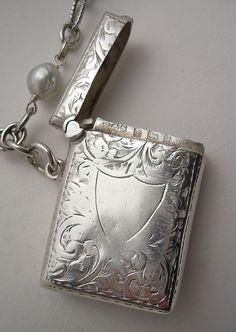 Antique Silver Vesta & Pearl Necklace