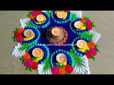 Very easy rangoli for Diwali/Deepawali 2018 Easy Rangoli Designs Diwali, Indian Rangoli Designs, Simple Rangoli Designs Images, Rangoli Designs Latest, Rangoli Designs Flower, Small Rangoli Design, Rangoli Patterns, Rangoli Ideas, Rangoli Designs With Dots