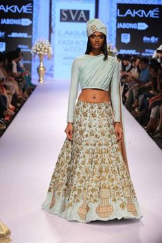 Lehenga SVA Sonam & Paras Modi | pale blue lehenga | Lakme Fashion Week Summer Resort 2015 | thedelhibride Indian weddings blog