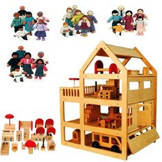 Extra Large Family Dollhouse Set  (House, Furniture, Four Family Sets)