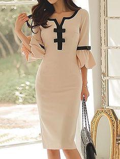 Split Neck Bowknot Embellished Flare Sleeve Beige Dress by Liligal. Dresses For Sale, Cute Dresses, Dresses Online, Beautiful Dresses, Casual Dresses, Fashion Dresses, Dresses With Sleeves, Cheap Dresses, Awesome Dresses
