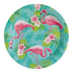 Flamingo Paradise Paper Plates - - Party Plates - Summer Party Supplies (Pack of Hippie Party, Aloha Party, Flamingo Party, Flamingo Pool, Party Plates, Party Tableware, Hula, Party Mottos, Pink Bowls