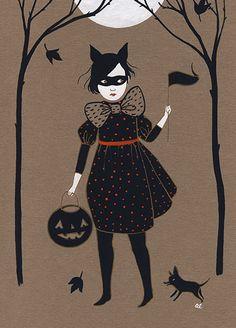 halloween art illustration Kitty Girl