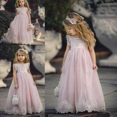 Lovely Light Pink Flower Girl Dresses Special Occasion For Weddings Kids Pageant Gowns A Line Lace Appliqued First Communion Dress White Girl Dresses Affordable Flower Girl Dresses From Dresstop, $75.43| Dhgate.Com