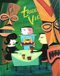 date @ Trader Vic's Josh Agle (Shag) Bora Bora, Tahiti, Tiki Art, Tiki Tiki, Tiki Hawaii, Vintage Tiki, Vintage Stuff, Tiki Decor, Tiki Lounge