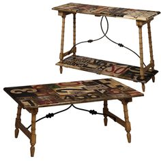 A jumble of patterns come together on this solid wood sofa table. The hand-painted table top and lower shelf features a colorful and graphic collage that is complimented by the rustic black metal stretchers. Shop rustic console tables now. Wood Sofa Table, Rustic Console Tables, Painted Furniture, Furniture Sets, Modern Furniture, Low Shelves, Coffee Signs, Modern Decor, Solid Wood