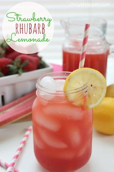 Strawberry Rhubarb Lemonade Recipe. A refreshing lemonade for all summer long.